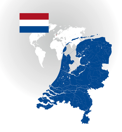 Map of Netherlands with rivers and lakes, national flag of Netherlands and world map as background.