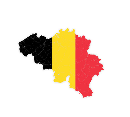 Map of Belgium with rivers and lakes in colors of the national flag. Please look at my other images of cartographic series - they are all very detailed and carefully drawn by hand WITH RIVERS AND LAKES.