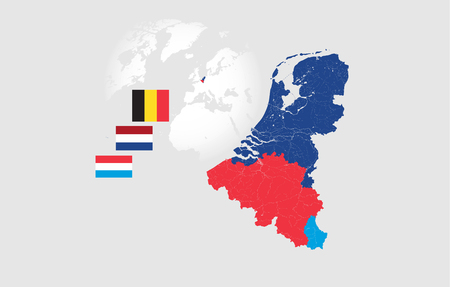 Map of BeNeLux countries with rivers and lakes and national flags. Map consists of separate maps of Belgium, Netherlands and Luxembourg that can be used separately. Please look at my other images of cartographic series - they are all very detailed and carefully drawn by hand WITH RIVERS AND LAKES.
