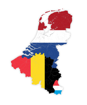 Map of BeNeLux countries with rivers and lakes in colors of the national flags.