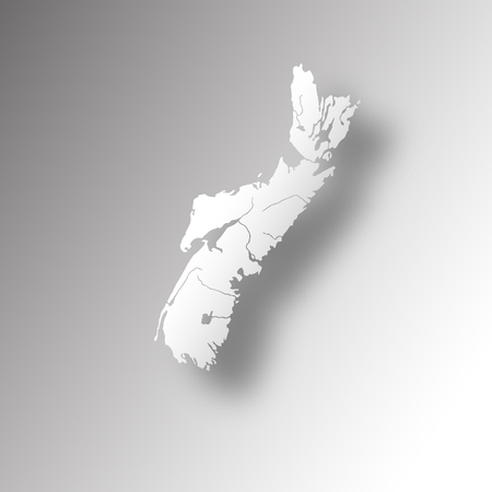 Provinces and territories of Canada - map of Nova Scotia with paper cut effect. Rivers and lakes are shown. Please look at my other images of cartographic series - they are all very detailed and carefully drawn by hand WITH RIVERS AND LAKES.