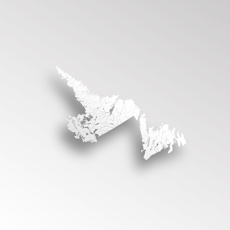 Provinces and territories of Canada - map of Newfoundland and Labrador with paper cut effect. Rivers and lakes are shown. Please look at my other images of cartographic series - they are all very detailed and carefully drawn by hand WITH RIVERS AND LAKES.