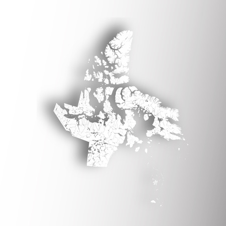 Provinces and territories of Canada - map of Nunavut with paper cut effect. Rivers and lakes are shown. Please look at my other images of cartographic series - they are all very detailed and carefully drawn by hand WITH RIVERS AND LAKES. Illustration