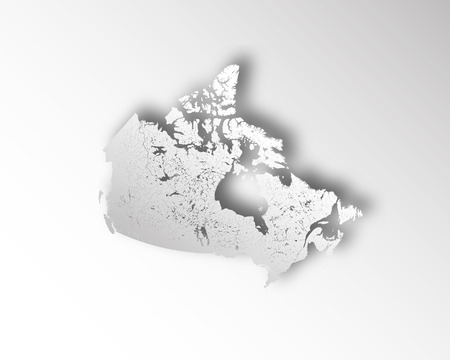 Map of Canada with paper cut effect. Rivers and lakes are shown.