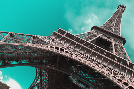 Eiffel Tower against a clear sky.