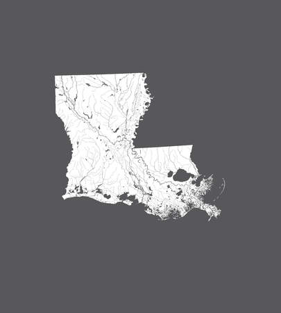 U.S. states - map of Louisiana. Hand made. Rivers and lakes are shown. Please look at my other images of cartographic series - they are all very detailed and carefully drawn by hand WITH RIVERS AND LAKES.