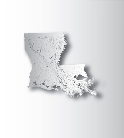 U.S. states - map of Louisiana with paper cut effect. Hand made. Rivers and lakes are shown. Please look at my other images of cartographic series - they are all very detailed and carefully drawn by hand WITH RIVERS AND LAKES.