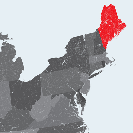 U.S. states - Northeastern United States - Maine - hand made map. Rivers and lakes are shown. Please look at my other images of cartographic series - they are all very detailed and carefully drawn by hand WITH RIVERS AND LAKES.