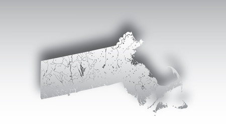 U.S. states - map of Massachusetts with paper cut effect. Hand made. Rivers and lakes are shown. Please look at my other images of cartographic series - they are all very detailed and carefully drawn by hand WITH RIVERS AND LAKES.