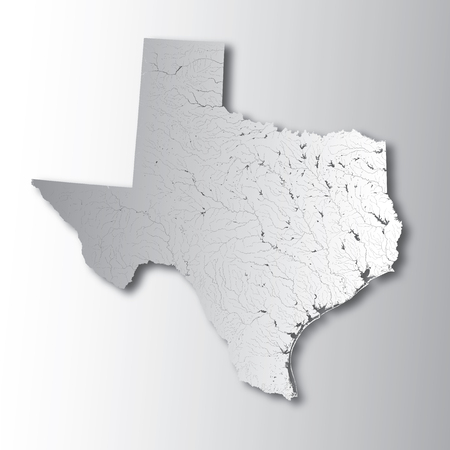 U.S. states - map of Texas with paper cut effect. Hand made. Rivers and lakes are shown. Please look at my other images of cartographic series - they are all very detailed and carefully drawn by hand WITH RIVERS AND LAKES.