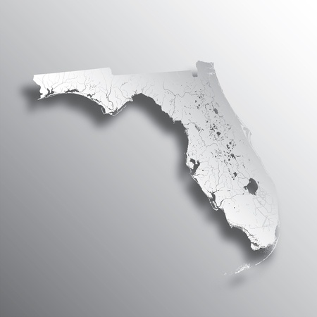 U.S. states - map of Florida with paper cut effect. Hand made. Rivers and lakes are shown. Please look at my other images of cartographic series - they are all very detailed and carefully drawn by hand WITH RIVERS AND LAKES.