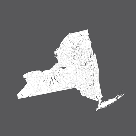 U.S. states - map of New York. Hand made. Rivers and lakes are shown. Please look at my other images of cartographic series - they are all very detailed and carefully drawn by hand WITH RIVERS AND LAKES.