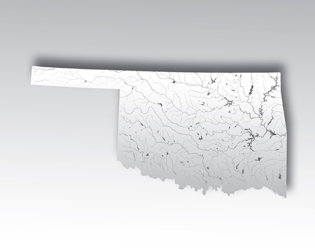 U.S. states - map of Oklahoma with paper cut effect. Hand made. Rivers and lakes are shown. Please look at my other images of cartographic series - they are all very detailed and carefully drawn by hand WITH RIVERS AND LAKES.