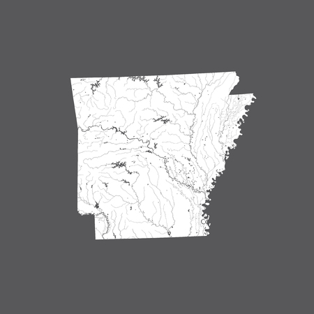 U.S. states - map of Arkansas. Hand made. Rivers and lakes are shown. Please look at my other images of cartographic series - they are all very detailed and carefully drawn by hand WITH RIVERS AND LAKES.