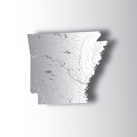U.S. states - map of Arkansas with paper cut effect. Hand made. Rivers and lakes are shown. Please look at my other images of cartographic series - they are all very detailed and carefully drawn by hand WITH RIVERS AND LAKES.