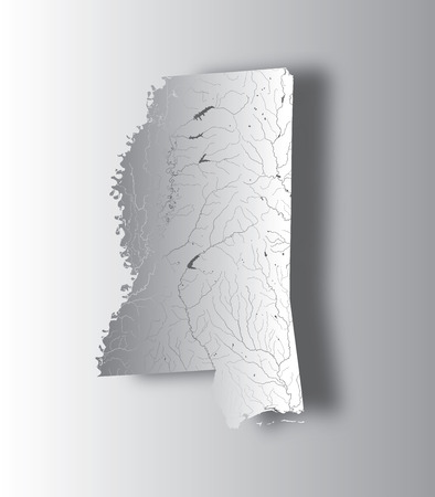 U.S. states - map of Mississippi with paper cut effect. Hand made. Rivers and lakes are shown. Please look at my other images of cartographic series - they are all very detailed and carefully drawn by hand WITH RIVERS AND LAKES. Ilustração