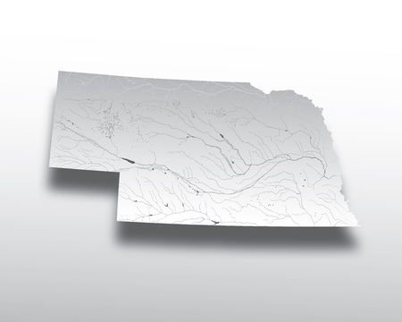 U.S. states - map of Nebraska with paper cut effect. Hand made. Rivers and lakes are shown. Please look at my other images of cartographic series - they are all very detailed and carefully drawn by hand WITH RIVERS AND LAKES. Illustration