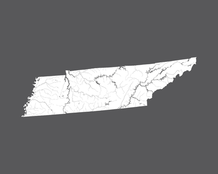 U.S. states - map of Tennessee. Hand made. Rivers and lakes are shown. Please look at my other images of cartographic series - they are all very detailed and carefully drawn by hand WITH RIVERS AND LAKES.