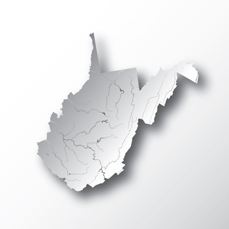 U.S. states - map of West Virginia with paper cut effect. Hand made. Rivers and lakes are shown. Please look at my other images of cartographic series - they are all very detailed and carefully drawn by hand WITH RIVERS AND LAKES. Illustration