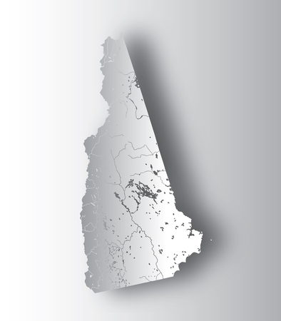 U.S. states - map of New Hampshire with paper cut effect. Hand made. Rivers and lakes are shown. Please look at my other images of cartographic series - they are all very detailed and carefully drawn by hand WITH RIVERS AND LAKES.