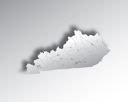 U.S. states - map of Kentucky with paper cut effect. Hand made. Rivers and lakes are shown. Please look at my other images of cartographic series - they are all very detailed and carefully drawn by hand WITH RIVERS AND LAKES.