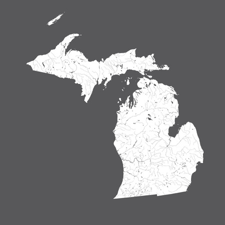 U.S. states - map of Michigan. Hand made. Rivers and lakes are shown. Please look at my other images of cartographic series - they are all very detailed and carefully drawn by hand WITH RIVERS AND LAKES. Illustration