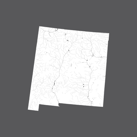 U.S. states - map of New Mexico. Hand made. Rivers and lakes are shown. Please look at my other images of cartographic series - they are all very detailed and carefully drawn by hand WITH RIVERS AND LAKES.