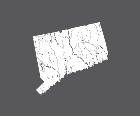 U.S. states - map of Connecticut. Hand made. Rivers and lakes are shown. Please look at my other images of cartographic series - they are all very detailed and carefully drawn by hand WITH RIVERS AND LAKES.