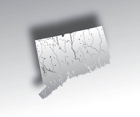 U.S. states - map of Connecticut with paper cut effect. Hand made. Rivers and lakes are shown. Please look at my other images of cartographic series - they are all very detailed and carefully drawn by hand WITH RIVERS AND LAKES.