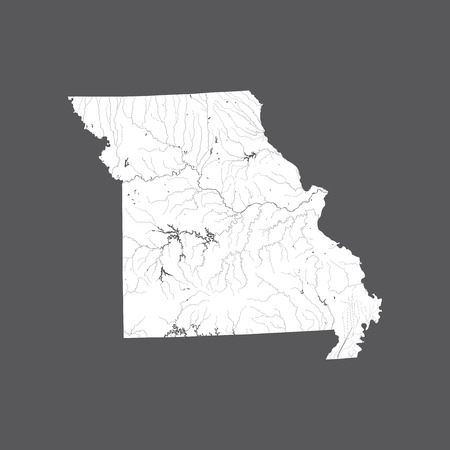 U.S. states - map of Missouri. Hand made. Rivers and lakes are shown. Please look at my other images of cartographic series - they are all very detailed and carefully drawn by hand WITH RIVERS AND LAKES.