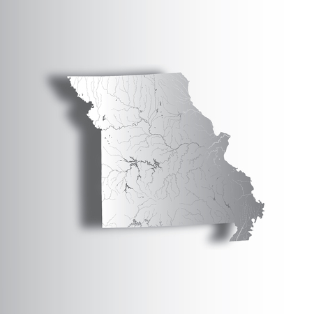 U.S. states - map of Missouri with paper cut effect. Hand made. Rivers and lakes are shown. Please look at my other images of cartographic series - they are all very detailed and carefully drawn by hand WITH RIVERS AND LAKES.