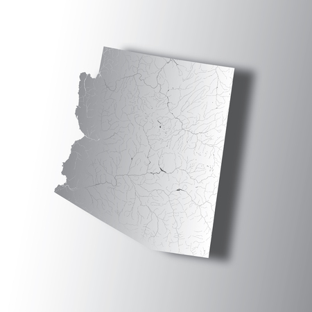 U.S. states - map of Arizona with paper cut effect. Hand made. Rivers and lakes are shown. Please look at my other images of cartographic series - they are all very detailed and carefully drawn by hand WITH RIVERS AND LAKES. Illustration