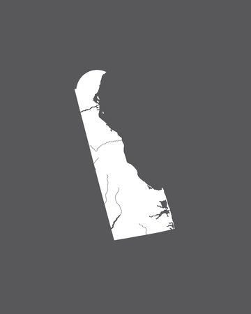 U.S. states - map of Delaware. Hand made. Rivers and lakes are shown. Please look at my other images of cartographic series - they are all very detailed and carefully drawn by hand WITH RIVERS AND LAKES.