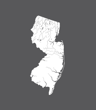 U.S. states - map of New Jersey. Hand made. Rivers and lakes are shown. Please look at my other images of cartographic series - they are all very detailed and carefully drawn by hand WITH RIVERS AND LAKES. Stock Vector - 105948356