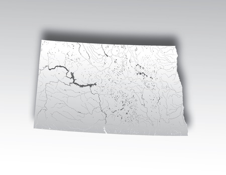 U.S. states - map of North Dakota with paper cut effect. Hand made. Rivers and lakes are shown. Please look at my other images of cartographic series - they are all very detailed and carefully drawn by hand WITH RIVERS AND LAKES.