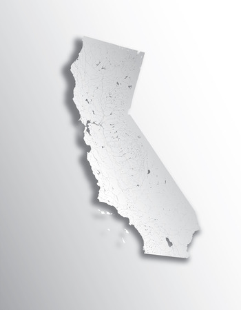 U.S. states - map of California with paper cut effect. Hand made. Rivers and lakes are shown. Please look at my other images of cartographic series - they are all very detailed and carefully drawn by hand WITH RIVERS AND LAKES.