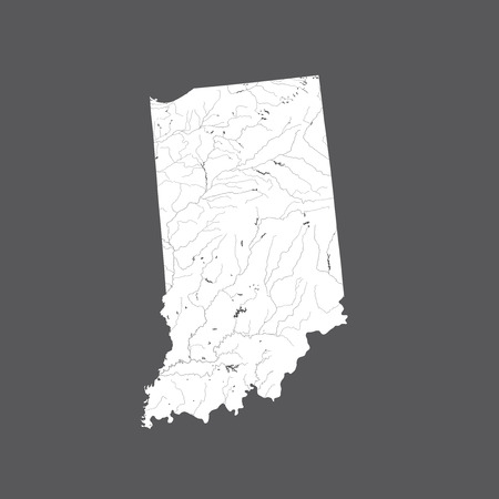 U.S. states - map of Indiana. Hand made. Rivers and lakes are shown. Please look at my other images of cartographic series - they are all very detailed and carefully drawn by hand WITH RIVERS AND LAKES.