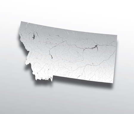 U.S. states - map of Montana with paper cut effect. Hand made. Rivers and lakes are shown. Please look at my other images of cartographic series - they are all very detailed and carefully drawn by hand WITH RIVERS AND LAKES.