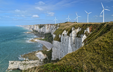 Grat view of the Alabaster cliffs near Fecamp, Normandy, France.