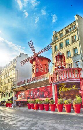 Paris, France - August 22, 2018: Moulin Rouge cabaret, Paris - HDR view from the Boulevard de Clichy.