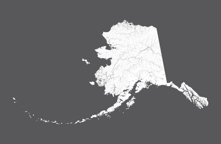 U.S. states - map of Alaska. Hand made. Rivers and lakes are shown. Please look at my other images of cartographic series - they are all very detailed and carefully drawn by hand WITH RIVERS AND LAKES.