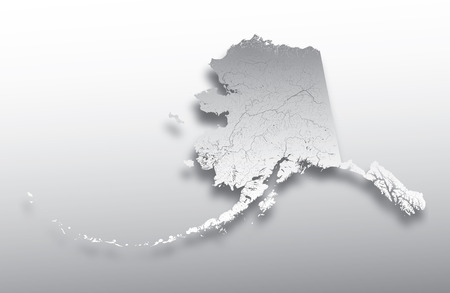 U.S. states - map of Alaska with paper cut effect. Hand made. Rivers and lakes are shown. Please look at my other images of cartographic series - they are all very detailed and carefully drawn by hand WITH RIVERS AND LAKES.