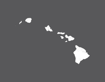 U.S. states - map of Hawaii. Hand made. Rivers and lakes are shown. Please look at my other images of cartographic series - they are all very detailed and carefully drawn by hand WITH RIVERS AND LAKES.