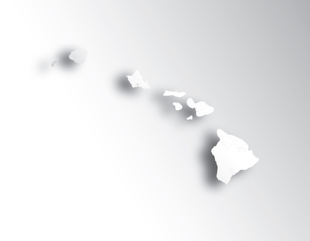 U.S. states - map of Hawaii with paper cut effect. Hand made. Rivers and lakes are shown. Please look at my other images of cartographic series - they are all very detailed and carefully drawn by hand