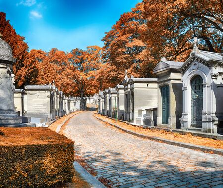 HDR view of Pere Lachaise Cemetery in Paris at autumn.