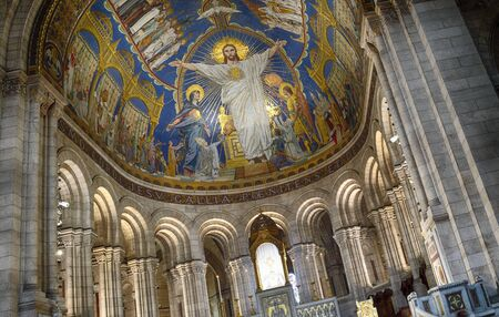A fragment of the interior of the Basilica of Sacre-Coeur in Montmartre, Paris, France.