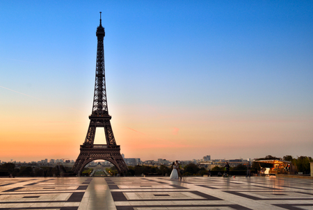 View of the Eiffel Tower at sunrise from Trocadero. Stock Photo
