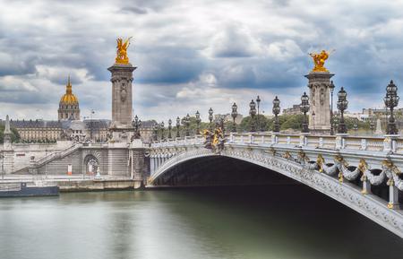 Alexandre III Bridge over the Seine in Paris, France.