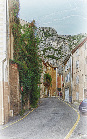 Street of the old village in Provence, France. 免版税图像