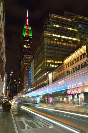 New York City, USA - January 6, 2019: Streets of Manhattan at night. 34th Street.